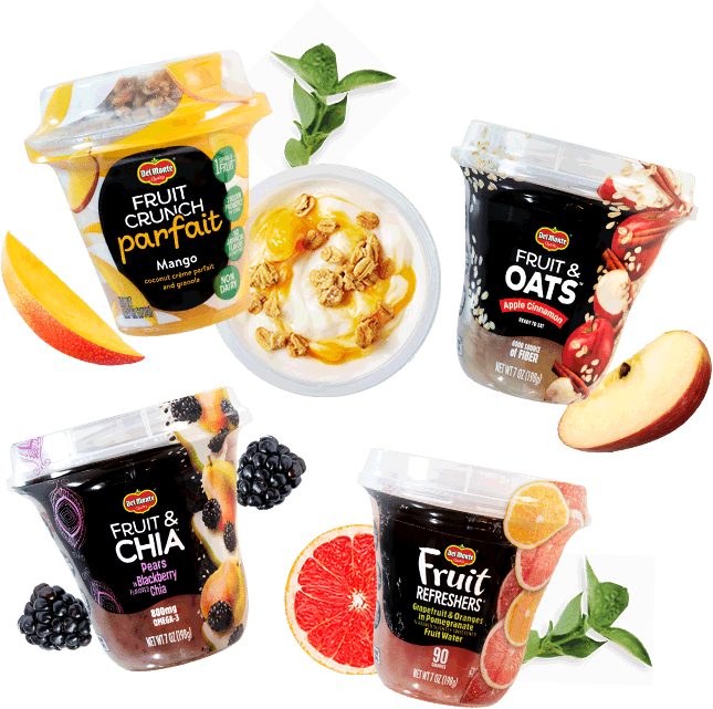 Del Monte Fruit Cups arranged with delicious ingredients